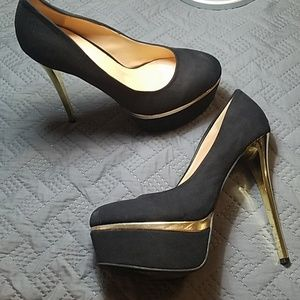 FRH Black Suede w/Gold stiletto Heel